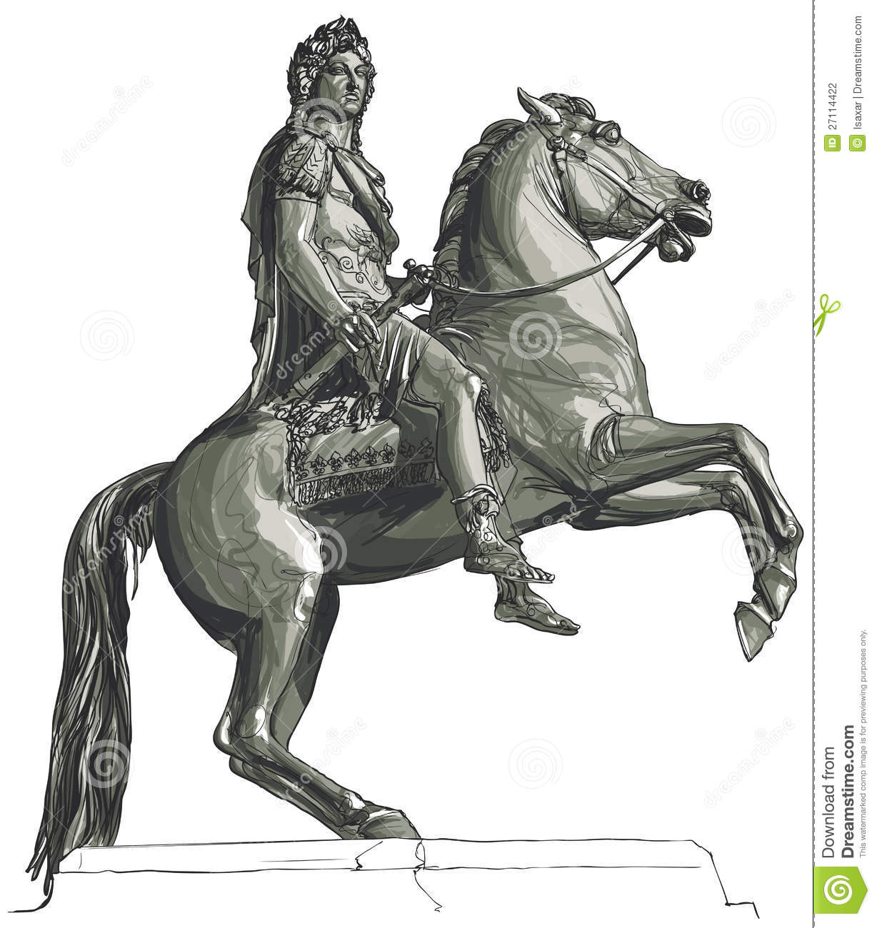 French King Louis XIV Equestrian Statue Stock Photography.