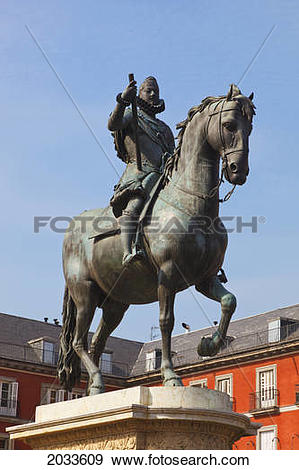 Stock Photograph of Equestrian Statue Of King Felipe Iii In Plaza.