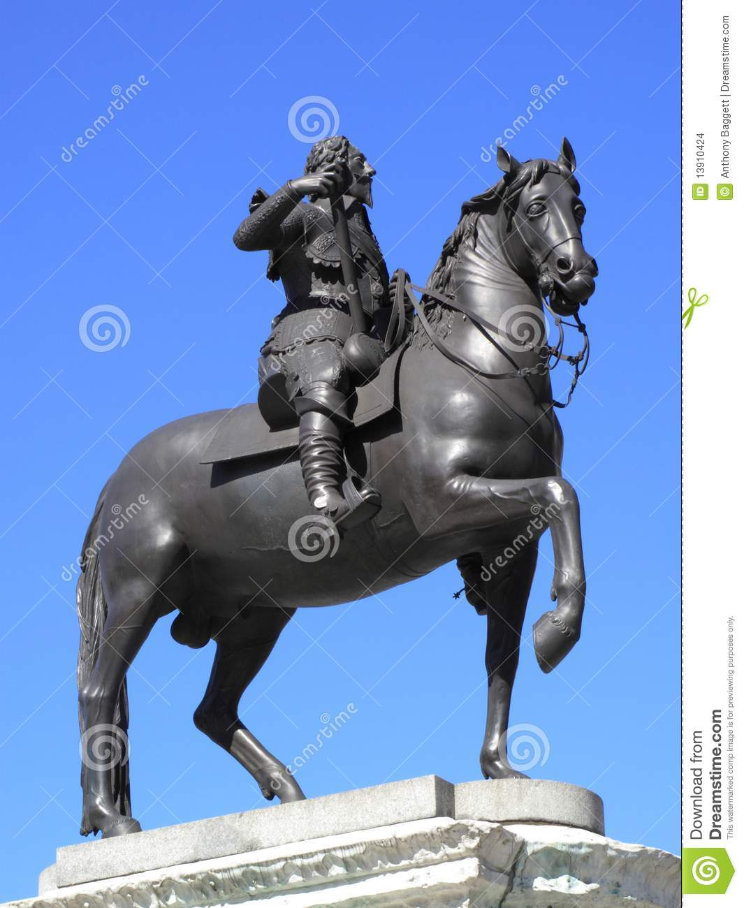 King Charles 1 Equestrian Statue Stock Images.