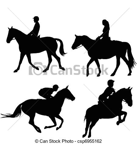Vector Illustration of Horses and equestrians silhouettes.