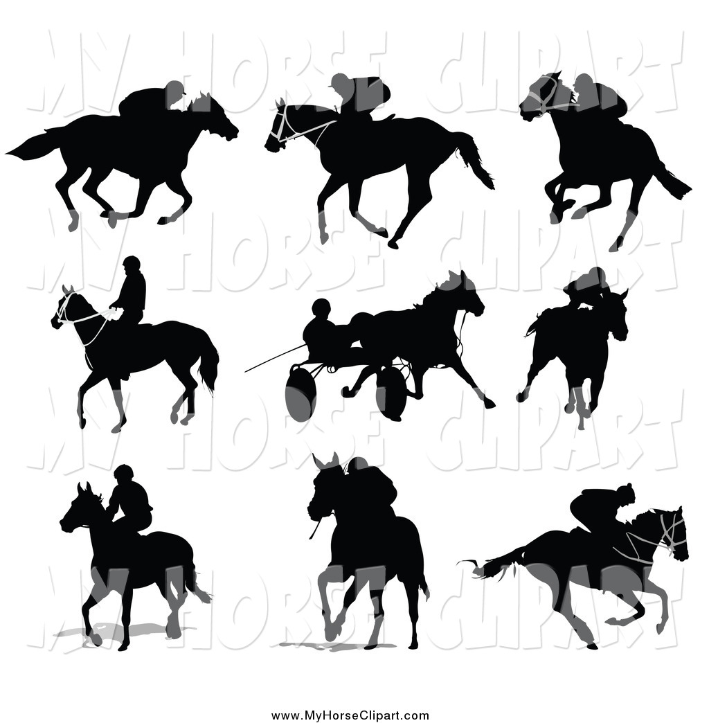 Clip Art of Black Equestrian Silhouettes by leonid.