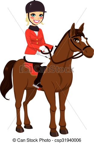 Vector Clipart of Equestrian Girl With Horse.
