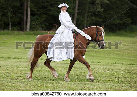 """Stock Photography of """"Equestrienne wearing a Venetian costume."""