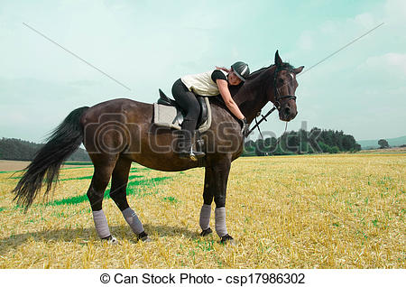 Stock Photography of Equestrienne and horse..