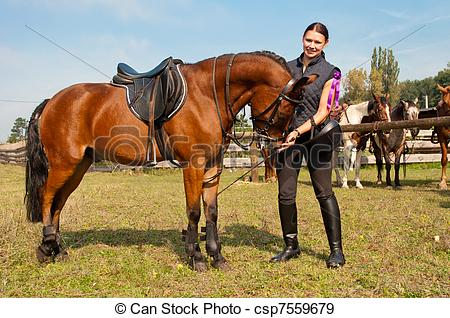 Stock Photographs of Horse and Equestrienne.