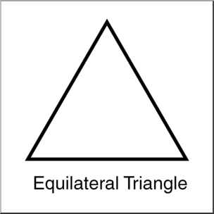 Clip Art: Shapes: Triangle: Equilateral B&W Labeled I abcteach.com.