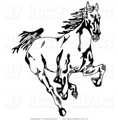 Clip Art of a Black and White Profiled Horse Head.
