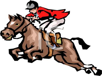 Picture of a Jockey Riding a Horse In a Vector Clip Art.