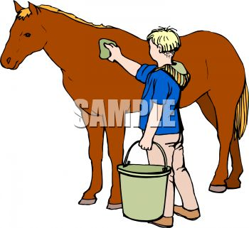 Picture of a Boy Grooming His Horse In a Vector Clip Art.