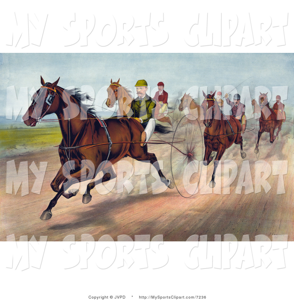 Sports Clip Art of a Men Racing Horses with Dust Rising by JVPD.