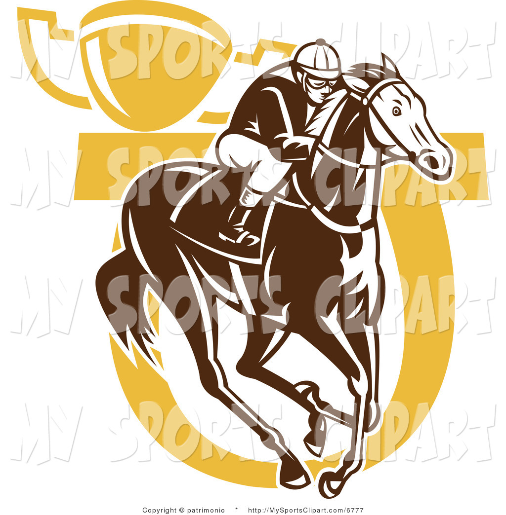 Sports Clip Art of a Horse Racing Jockey Horseshoe and Trophy by.
