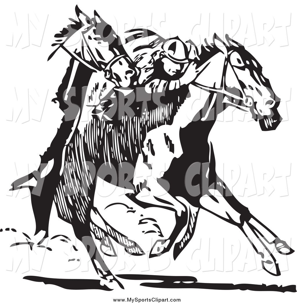 Sports Clip Art of a Jockey and Black and White Racing Horses by.