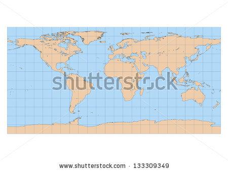 Very High Detailed Map World Equirectangular Stock Vector.