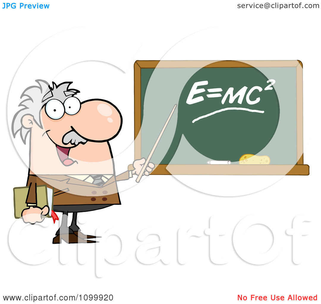 Clipart Happy Caucasian Science Professor Discussing Mass Energy.