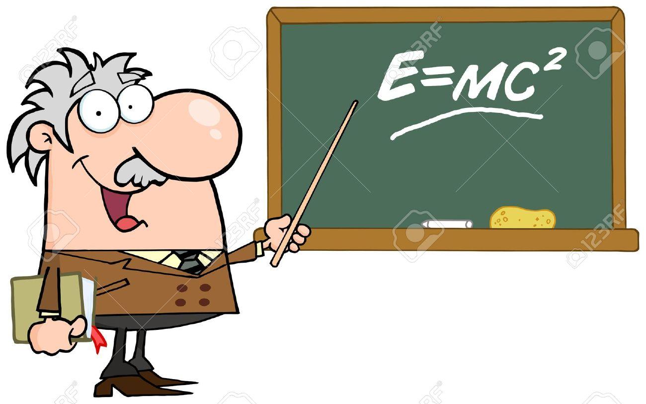 Happy Caucasian Science Professor Discussing Mass Energy.