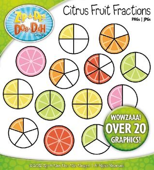 Bright Citrus Fruit Fractions Clipart — Over 20 Graphics.