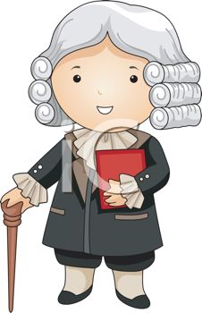 Colonial Era Judge Wearing a Powdered Wig.