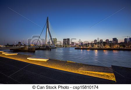 Picture of Beautiful image of the famous Erasmus bridge over the.