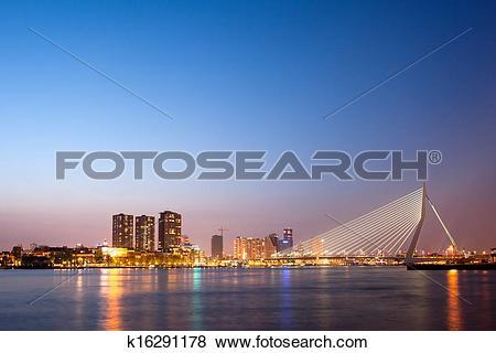 Pictures of Erasmus Bridge in Rotterdam at Dusk k16291178.