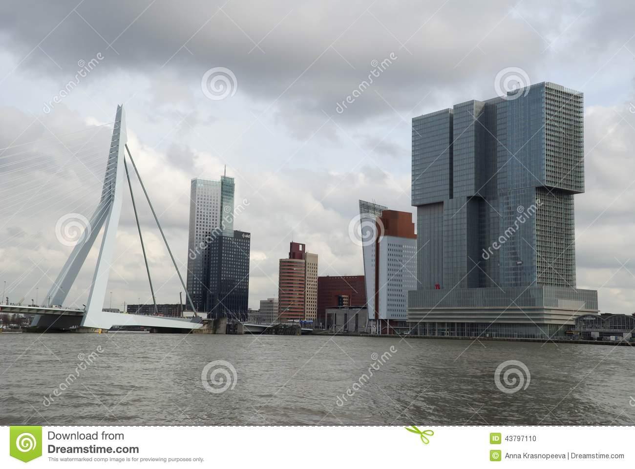 De Rotterdam Building And The Erasmus Bridge, The Netherlands.