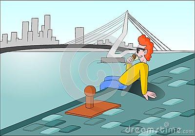 Guy Ice Cream Cone Erasmus Bridge Rotterdam Stock Illustrations.