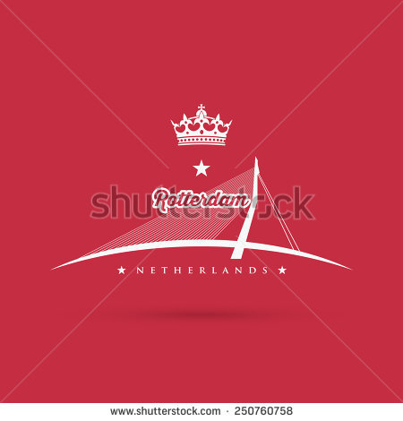 Erasmus Bridge Rotterdam Vector Illustration Stock Vector.