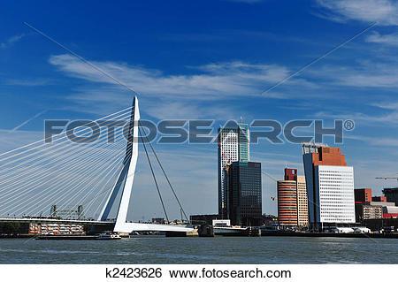 Stock Images of Erasmus bridge in Rotterdam k2423626.