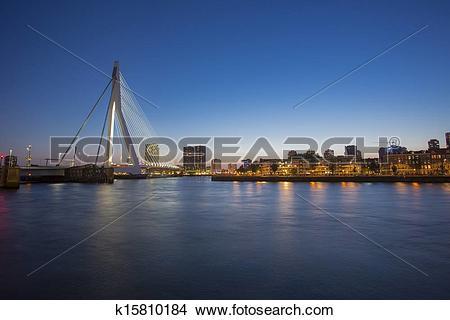 Stock Photo of A night view on Erasmus bridge over the Nieuwe Maas.