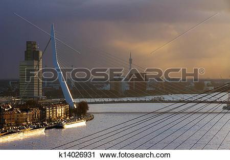 Stock Photography of Sunset Erasmus bridge k14026931.