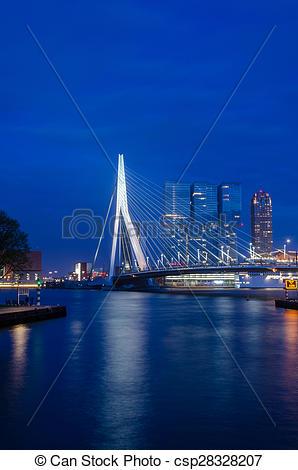 Stock Photography of Erasmus Bridge in Rotterdam, Twilight time.