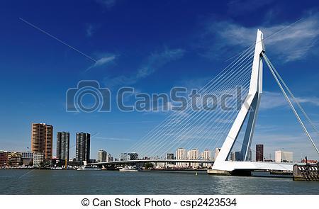 Stock Photo of Erasmus bridge in Rotterdam the Netherlands, Europe.