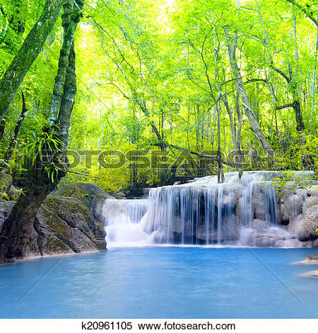 Stock Image of Erawan waterfall in Thailand. Beautiful nature.