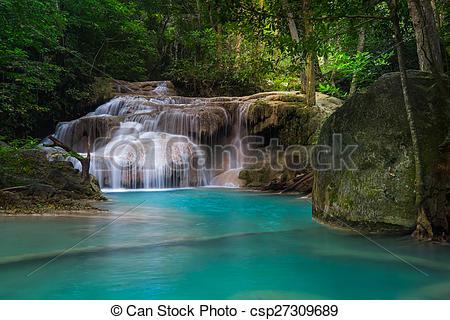 Pictures of Jangle landscape with Erawan waterfall. Kanchanaburi.