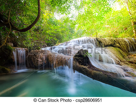 Stock Images of Jangle landscape with Erawan waterfall.