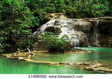 Stock Image of Deep forest Waterfall in Erawan Waterfall National.