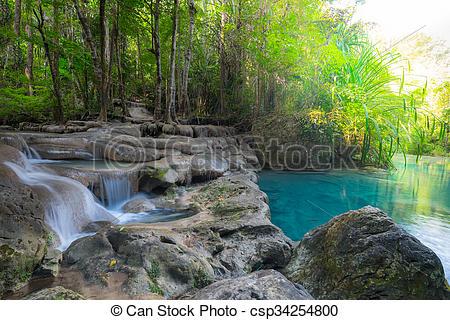 Stock Photography of Jangle landscape with Erawan waterfall.