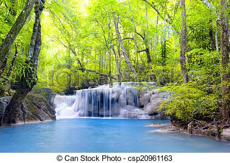 Stock Image of Erawan waterfall in Thailand. Beautiful nature.