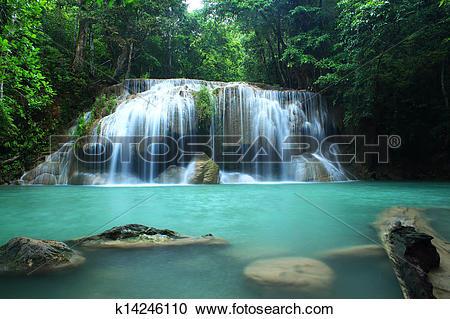 Stock Photography of Erawan Waterfall, Kanchanaburi, Tha k14246110.