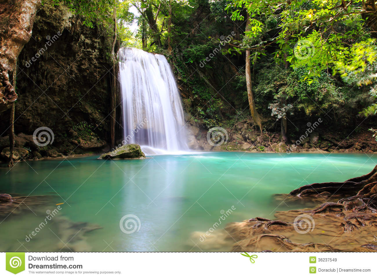 Beautiful Waterfall At Erawan National Park Royalty Free Stock.