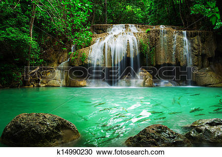 Stock Photography of Waterfall in Erawan national park, level 2.