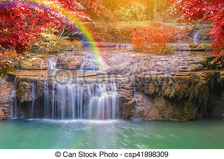 Stock Photography of landscape of Wonderful Waterfall in forest at.