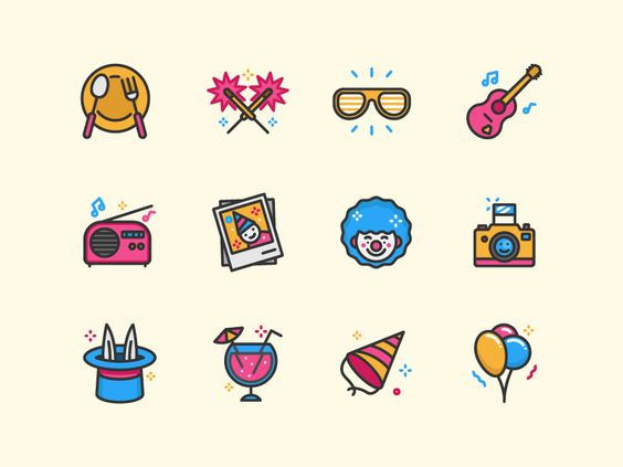 Party icons by Sergey Ershov #Design Popular #Dribbble #shots.