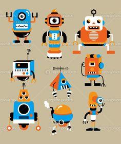 stock vector : cartoon color robot icon.