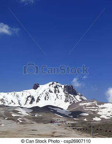Stock Photography of Ski resort in spring. Mount Erciyes, central.