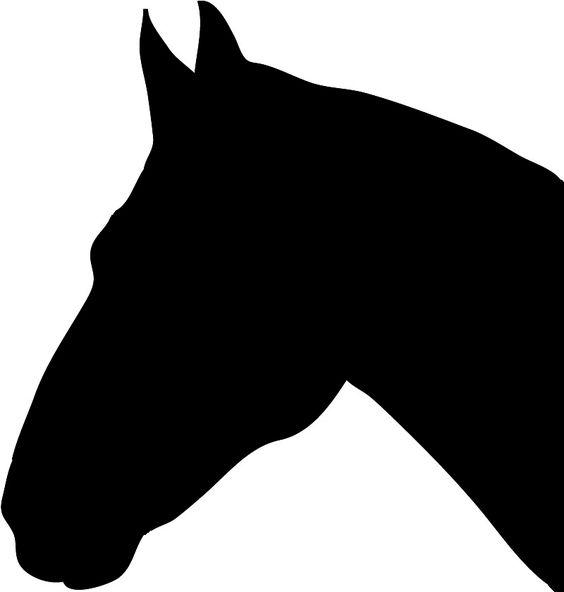 Black horse head silhouette clipart.