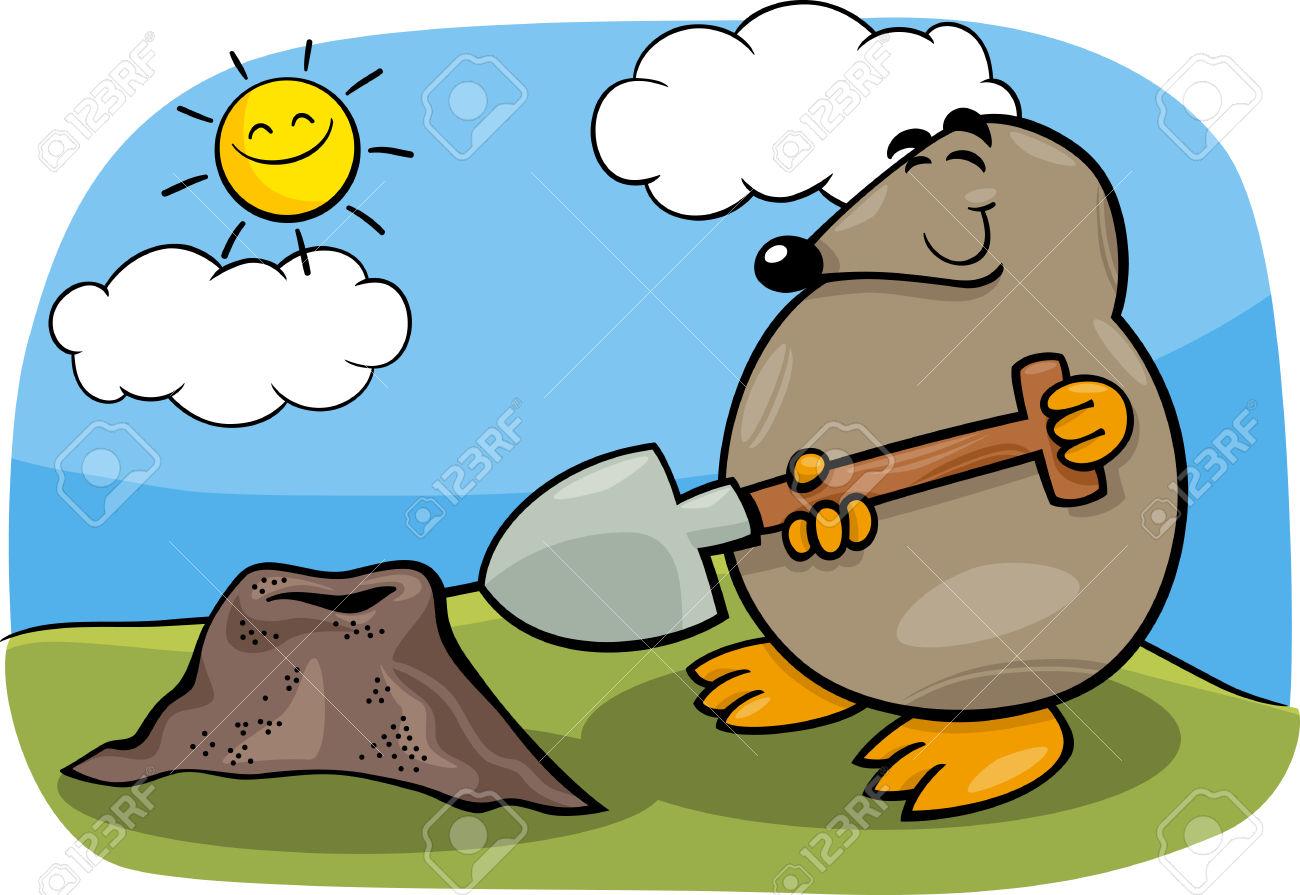 Illustration De Bande Dessinée Drôle De Mole Mignon Avec Shovel.
