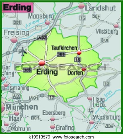 Clip Art of Map of erding k19913579.
