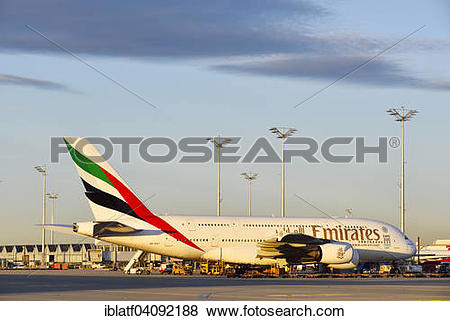 Pictures of Airbus A380 aircraft, Emirates, Munich, Freising.