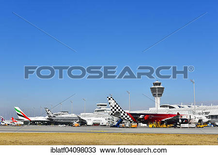 Stock Photo of Aircraft Line up, Terminal 1, with Tower, Munich.