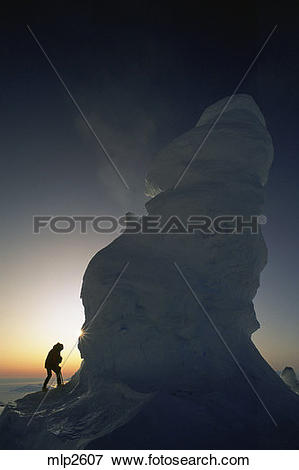Picture of Midnight on Ice Tower Ridge, Mount Erebus,(12,500 feet.